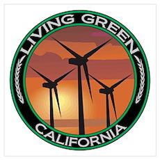 Living Green California Wind Power Pr Poster