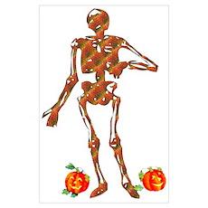 Halloween Skeleton and Pumpkins Poster