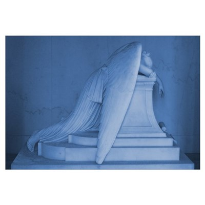Weeping Angel Print in Blue Poster