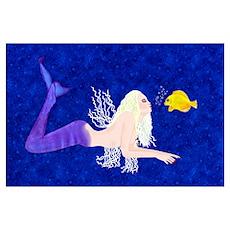 Mermaid kissing fish Poster