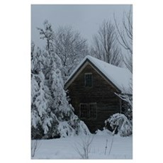 Scenic New England Snow Cover Poster