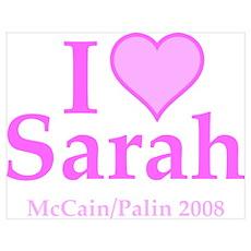 I Heart Sarah Pink Poster