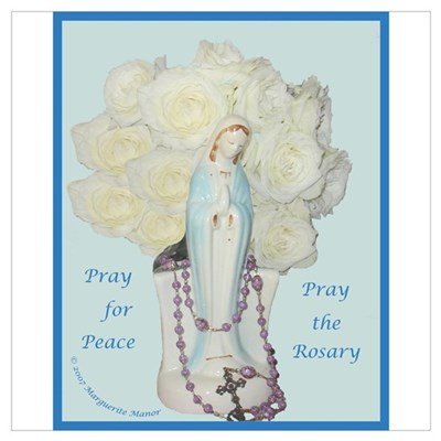 Mary with White Roses Canvas Art