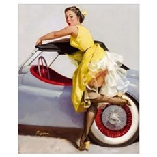 Classic Car Vintage Pinup Girl 16 x 20 Poster