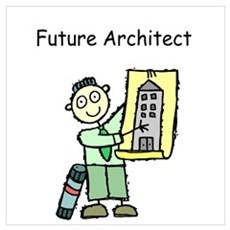Future Architect with Buiding Plans Occupation Fra Poster