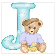 Teddy Alphabet J Teal Poster