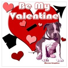 Valentines Day Pit Bull Pup Poster