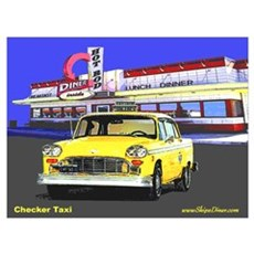 Checker Taxi Canvas Art