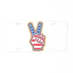 HAND PEACE SYMBOL Aluminum License Plate