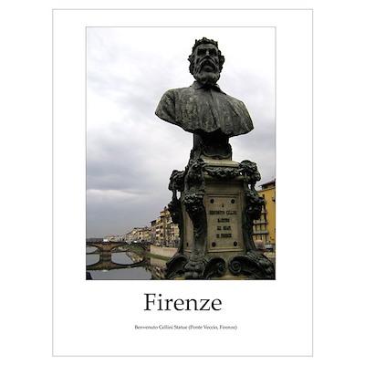Benvenuto Cellini Statue (Firenze) Poster