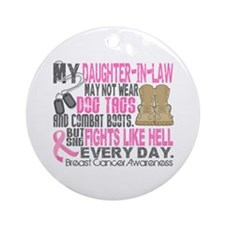 Dog Tags Breast Cancer Ornament (Round)