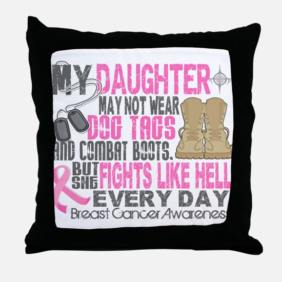 Dog Tags Breast Cancer Throw Pillow