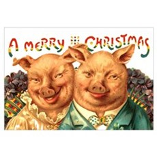 Christmas Pigs 11x17 Big Print Poster