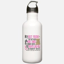 Dog Tags Breast Cancer Water Bottle