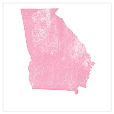 Vintage Grunge Pink Georgia Poster