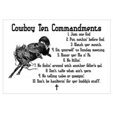 Cowboy Ten Commandments Canvas Art