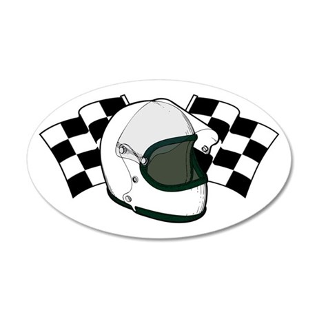 Helmet & Flags 35x21 Oval Wall Decal