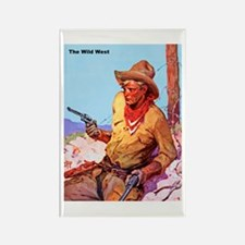Wild West Cowboy with Two Guns Rectangle Magnet