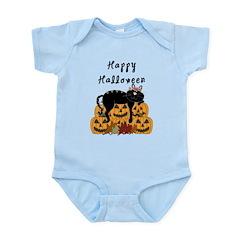 Halloween Black Cat and Pumpkins Infant Bodysuit