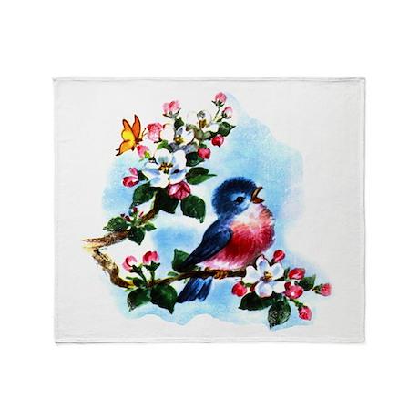 Cute Bluebird Singing Throw Blanket