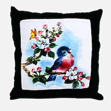 Cute Bluebird Singing Throw Pillow