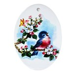 Cute Bluebird Singing Ornament (Oval)