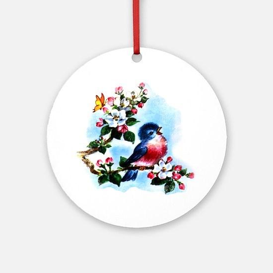 Cute Bluebird Singing Ornament (Round)
