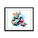 Cute Bluebird Singing Framed Panel Print