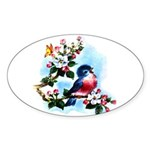 Cute Bluebird Singing Sticker (Oval 10 pk)