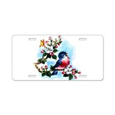 Cute Bluebird Singing Aluminum License Plate