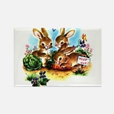 Cute Bunny Rabbits Bunnies Rectangle Magnet