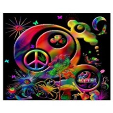 Lucky Peace Sign Collage Poster