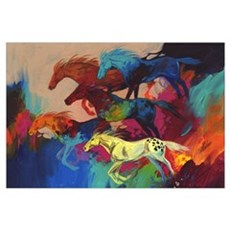 Colorful Running Horses - Bachelor Party Canvas Art