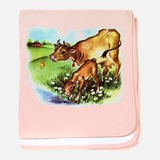 Cute Cow Calf Farm baby blanket