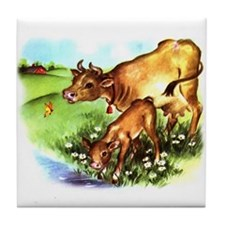 Cute Cow Calf Farm Tile Coaster