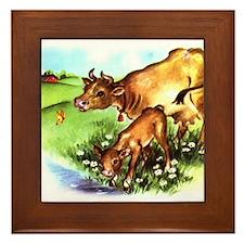 Cute Cow Calf Farm Framed Tile