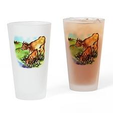 Cute Cow Calf Farm Drinking Glass