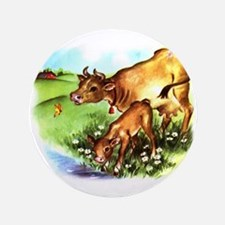 "Cute Cow Calf Farm 3.5"" Button"