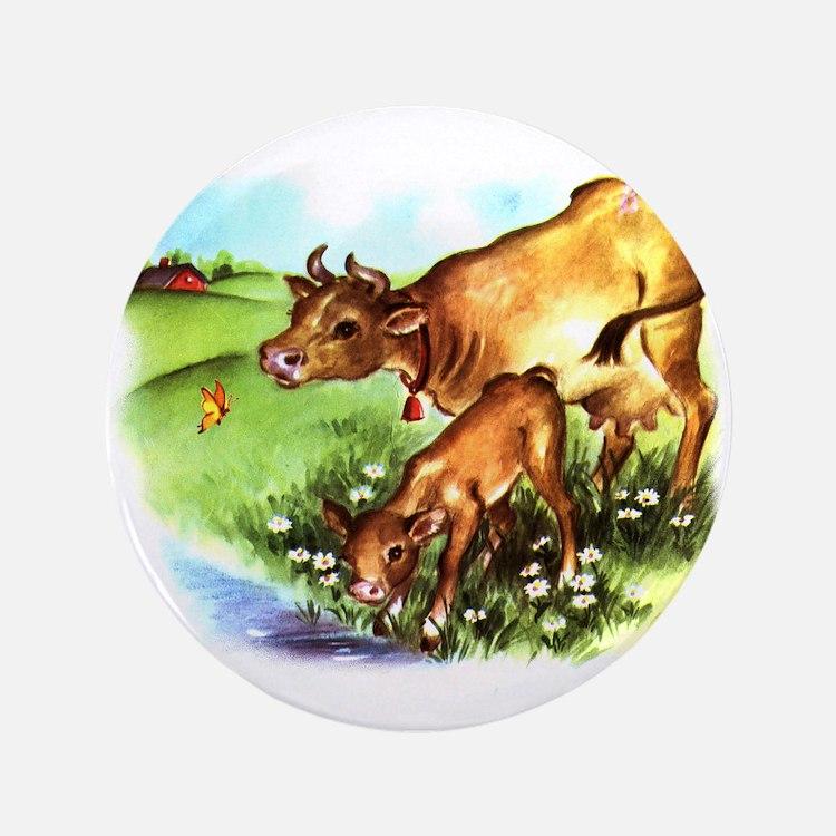 """Cute Cow Calf Farm 3.5"""" Button"""