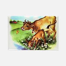 Cute Cow Calf Farm Rectangle Magnet