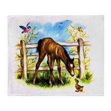 Cute Foal Horse Pony Filly Throw Blanket
