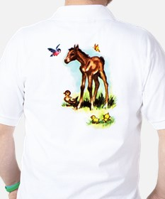 Baby Horse Pony Foal Filly Golf Shirt