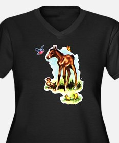 Baby Horse Pony Foal Filly Women's Plus Size V-Nec