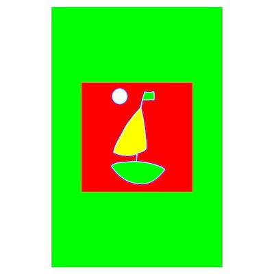 Sailing under the Moon/Sailboat /Print Poster