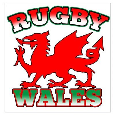 Rugby Wales Flag Poster