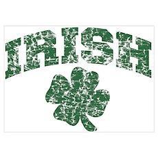 Worn Irish Shamrock Poster