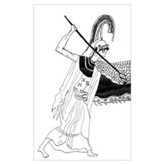 Athena vase drawing Framed Print