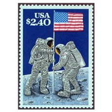 US Flag on the Moon Poster