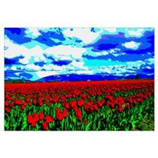 Red Tulip Field Canvas Art