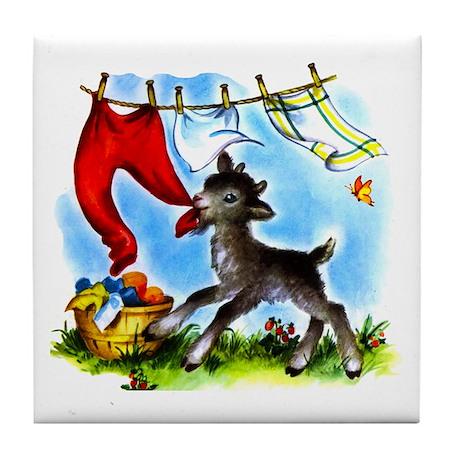 Funny Clothesline Goat Tile Coaster